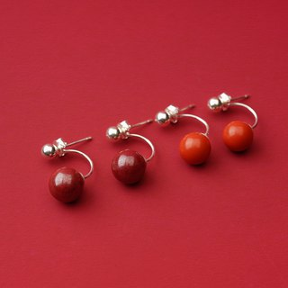 Cinnabar before and after ear studs original s925 sterling silver red transport natural ore this year is too old