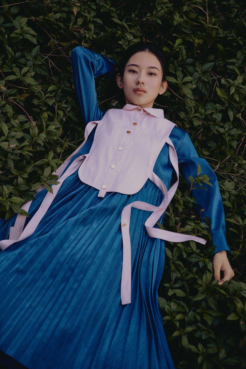 原創設計 焰火與夜幕 壓褶裙假領可拆卸兩件套連衣裙