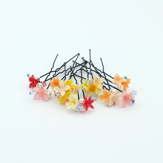Pamycarie Great handmade red-orange color resin clay flower hairpin Fa