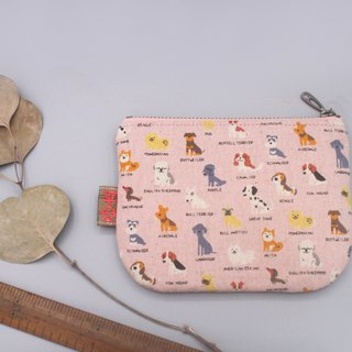 Ping An Xiao Le Bao - Meng Meng dog line up (sweet powder), double-sided two-color Japanese cotton and linen small wallet