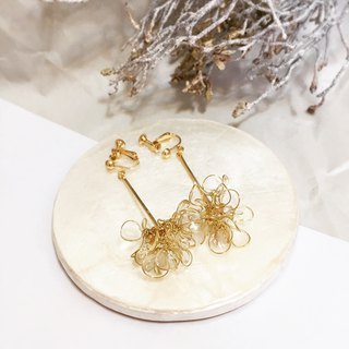 cLeAr flowers hand made transparent bouquet earrings - gold M size can be changed