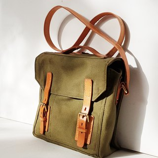 Small Satchel Bag / Leather & Canvas Crossbody Bag / Small Messenger Bag Unisex