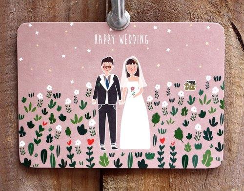 KerkerlandHappy Wedding Postcard  Kerkerland  Pinkoi