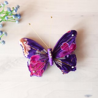 Hand made butterfly hairpin flower purple