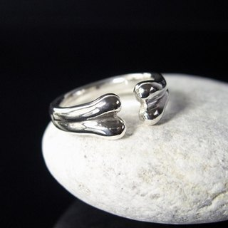 Bone sterling silver ring