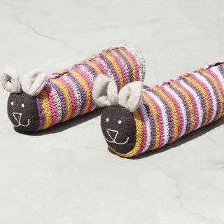 Textiles Handmade Weaving Long Animal Acceptance Bag / Pencil Bag / Cosmetic Bag / Pen Holder - Crochet Animal Rabbit Striped Pencil Bag