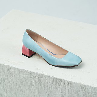 H THREE classic square heel shoes / water blue / thick heel / retro