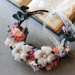 Dried wreath / home decoration rings / cotton balls and warm