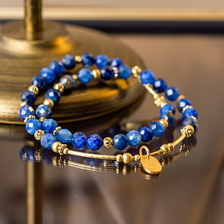 <Slow Temperature Natural Stone> C1236 Blue Crystal Brass Double Ring Bracelet // Roaming Arctic Ocean
