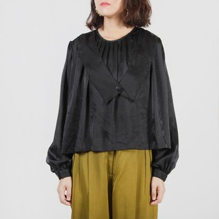 [Egg plant ancient] Dangling collar special tailoring black vintage shirt