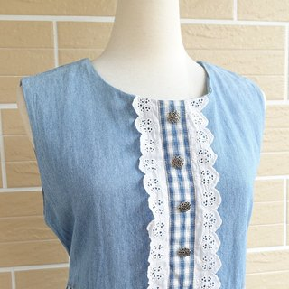 │Slowly│ Picnic girl denim strap - Vintage long version of dress │ vintage. Vintage.