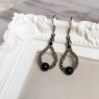 """KeepitPetite"" black transparent blue water droplets • gravel • ear hook earrings • Gifts"