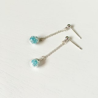 *Haku‧Neko*mini blue glass beads ball earrings long chain