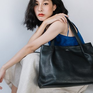 WOMAN LEATHER TOTE BAG-BLACK