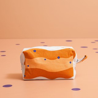 Zipper rectangular storage bag / pearl milk tea / caramel brown