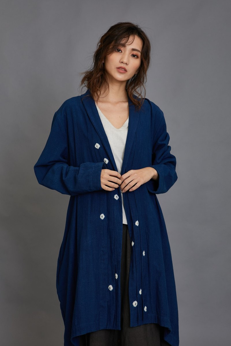 開襟長外套-藍-公平貿易