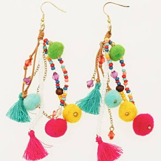 Pre-ordered Mexican color ball earrings (three colors) IIBZ8102