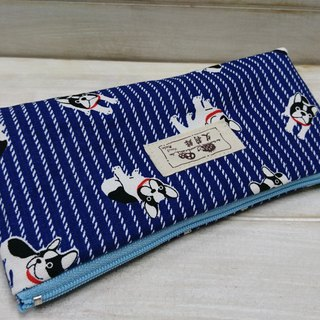 Blue Striped Pencil Bag - Storage Bag