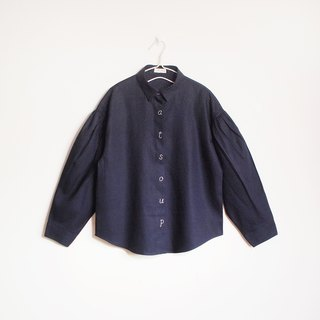 cat soup volume sleeve linen shirt : navy