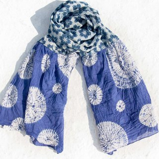 Blue dyed silk scarf / batik embroidery silk scarf / plant dyed scarf / indigo gradient cotton scarf - blue bubble
