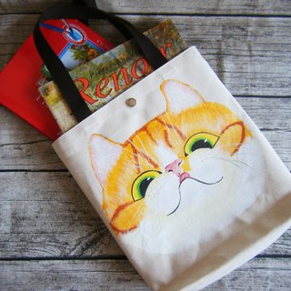 Painted orange greedy big cat meat ball bag