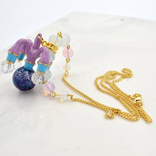Crystal chandelier necklaces handmade customizable any combination of colors 18K gold plated copper chain hypoallergenic anti-off color