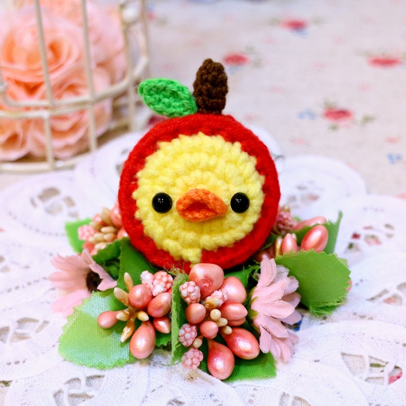 Apple hat chick duckling. Telescopic pull ring. Document folder.