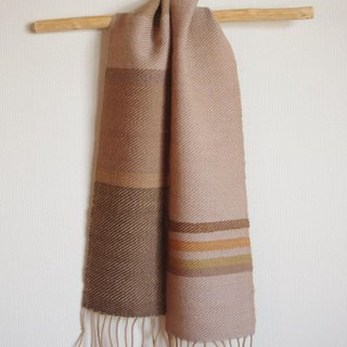 Line is hand pointed with hand woven wool mini scarves leaves etc