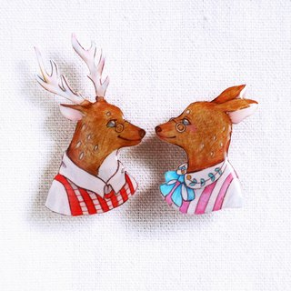 Deer couple brooch (single price)