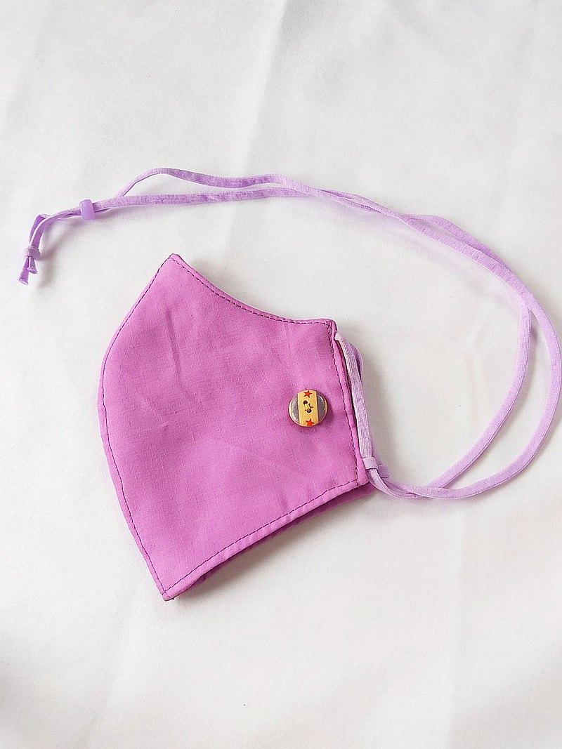 帶頸帶的3D布面膜,舒適的3層棉織物,紫色。