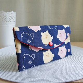 LovelyQ version [chubby full pig red bag] passbook set, cash storage bag, dark blue