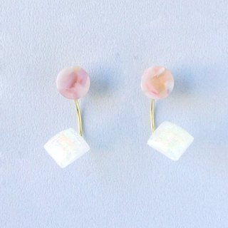 Marble Labs Impressionist Round Sakura Color Pearls / Mosaic Front and Back Two Wear 2 way Earrings / Ear Clip (EP006)