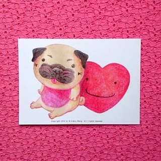 Pug postcard - Love with you