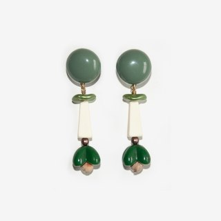 Sage Green Flower Earrings