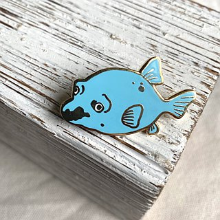 Blue Dog face puffer fish metal pin