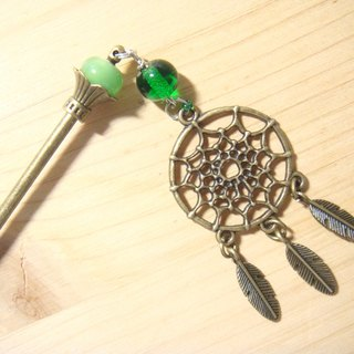 Grapefruit handmade glass - dream catcher hairpin - the taste of grassland
