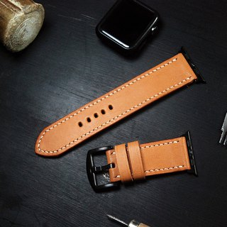 Applewatch leather hand strap strap - camel [Fu Lie area carved leather] [planted leather]
