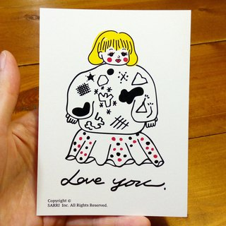 Love you (A3 size poster can be made) Birthday Card Design Coloring Illustrator Picture Card Universal Card Art Love Special Funny Strange Character Strange Cute Taiwan Playable