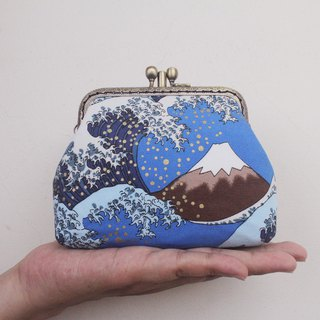 Ukiyo-e painted double-layer gold - card bag / coin purse