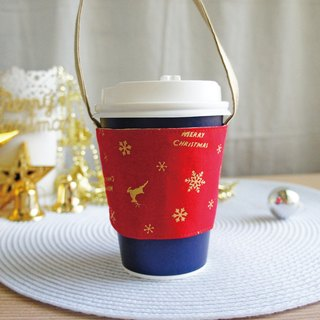 Lovely [Japanese cloth] elk snowflake Christmas drink cup bag, bag, cup set [red bronzing]