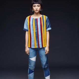 Upcycling STRIPES denim top