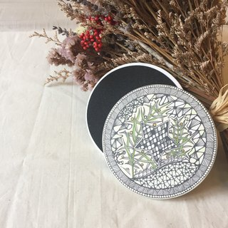 Ceramic Tangles Coaster/ 2017 Greenery Star