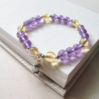 [Purple yellow] x amethyst x 925 Silver - hand-made natural stone series