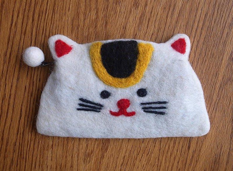 羊毛氈  手工 零錢包 動物 招財貓