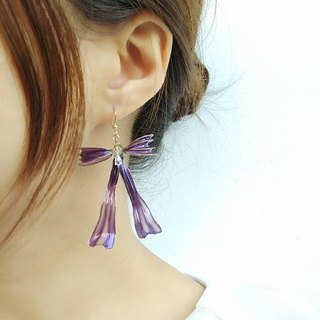 Paris actress three-dimensional bowknot earrings - Luxury purple autumn limited edition