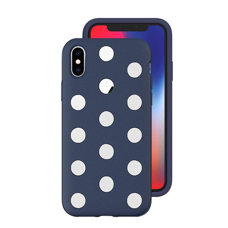 AndMesh-iPhone Xs圓點雙層防撞保護套-海軍藍(4571384959285