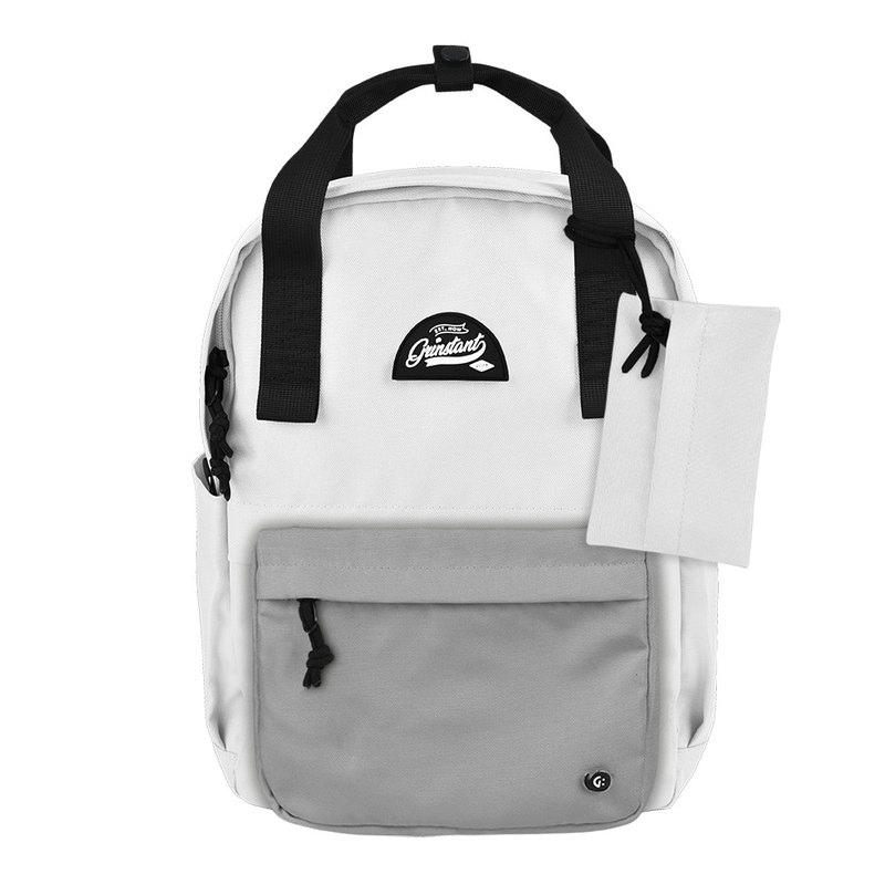 Grinstant混搭可拆組式13吋後背包 - 黑白系列 (白色配灰色)