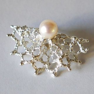 2way ★ lace frill pierce (sv * pearl) ★ race ★ frill ★ pierced earring ★ pearl ★ for one ear