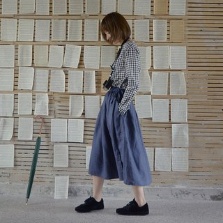 Navy blue pleated skirt | skirt | linen | independent brand | Sora-172