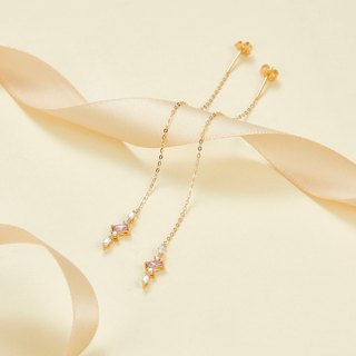 【PurpleMay Jewellery】18k Yellow Gold Sapphire & Diamond Drop Earring E014